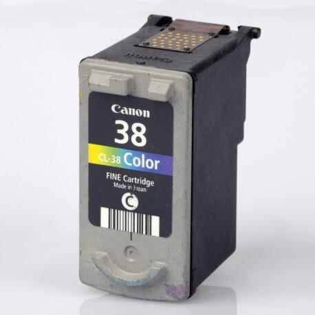 Auf dem Bild sehen Sie den Artikel CL-38 von Canon. Dieses Tintenpatrone Modell eignet sich für die Wiederaufbereitung und wird daher zum Recycling angekauft.