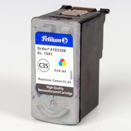 Auf dem Bild sehen Sie den ArtikelCL-41 von Canon. Dieses Tintenpatrone Modell eignet sich für das Recycling und wird daher angekauft.
