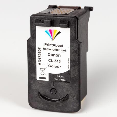 Auf dem Bild sehen Sie den Artikel CL-513 von Canon. Dieses Tintenpatrone Modell eignet sich für das Recycling und wird daher angekauft.