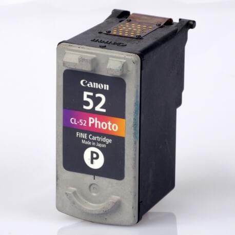 Auf dem Bild sehen Sie den ArtikelCL-52 von Canon. Dieses Tintenpatrone Modell eignet sich für die Wiederaufbereitung und wird daher zum Recycling angekauft.