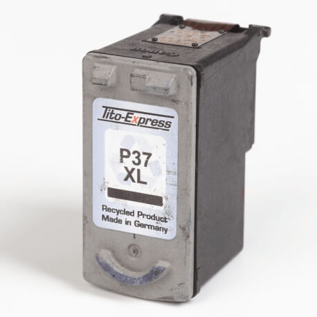 Auf dem Bild sehen Sie den ArtikelPG-37 von Canon. Dieses Tintenpatrone Modell eignet sich für das Recycling und wird daher angekauft.