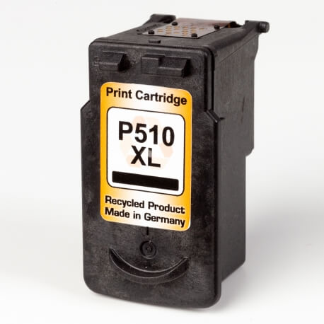 Auf dem Bild sehen Sie den ArtikelPG-510 von Canon. Dieses Tintenpatrone Modell eignet sich für das Recycling und wird daher angekauft.