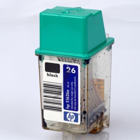 Auf dem Bild sehen Sie den Artikel 51626A/G von Hewlett-Packard. Dieses Tintenpatrone Modell eignet sich für die Wiederaufbereitung und wird daher zum Recycling angekauft.