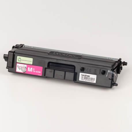 Auf dem Bild sehen Sie den ArtikelTN-423 von Brother. Dieses Toner Modell eignet sich für die Wiederaufbereitung und wird daher zum Recycling angekauft.