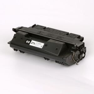 Auf dem Bild sehen Sie den Artikel C4127X von Hewlett-Packard. Dieses Toner Modell eignet sich für die Wiederaufbereitung und wird daher zum Recycling angekauft.