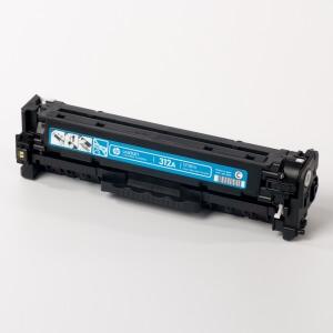 Auf dem Bild sehen Sie den Artikel CF381A-83A von Hewlett-Packard. Dieses Toner Modell eignet sich für die Wiederaufbereitung und wird daher zum Recycling angekauft.