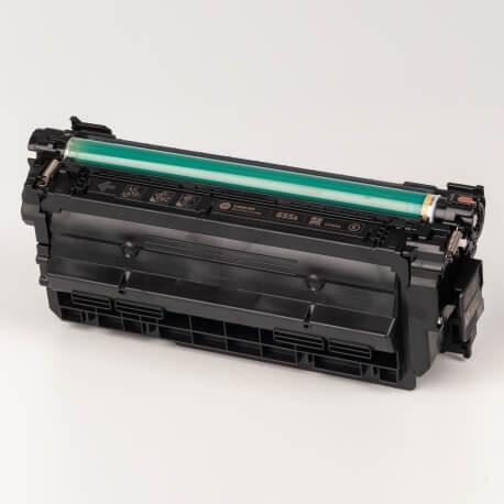 Auf dem Bild sehen Sie den ArtikelCF450A-53A von Hewlett-Packard. Dieses Toner Modell eignet sich für die Wiederaufbereitung und wird daher zum Recycling angekauft.