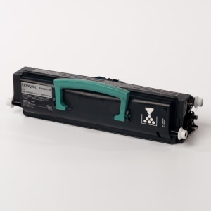 Auf dem Bild sehen Sie den Artikel 0E450H11E/H21E von Lexmark. Dieses Toner Modell eignet sich für die Wiederaufbereitung und wird daher zum Recycling angekauft.