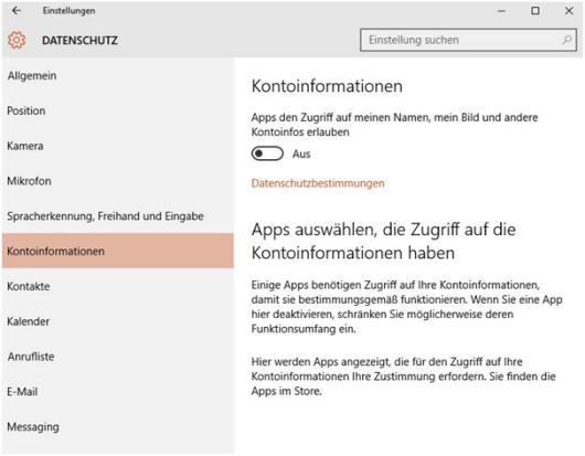 Datenschutz in Windows 10